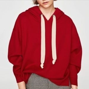 Zara Knit Red Pullover Hoodie